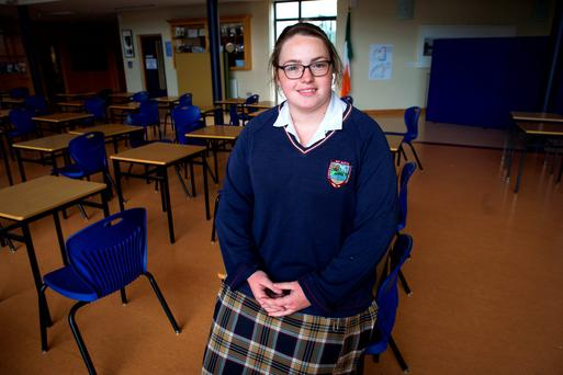 Rebecca Nolan from Donabate Community College sat the Higher Level Maths exam. Photo: Douglas O'Connor