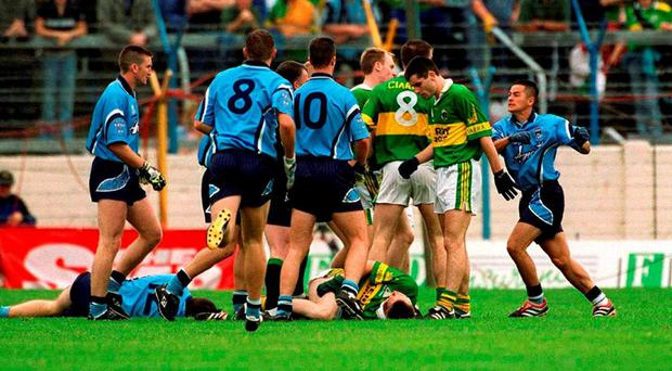 Collie Moran (left) is lying prone on the ground alongside me after I had 'cleaved' him in Thurles in 2001. Photo: Damien Eagers / Sportsfile