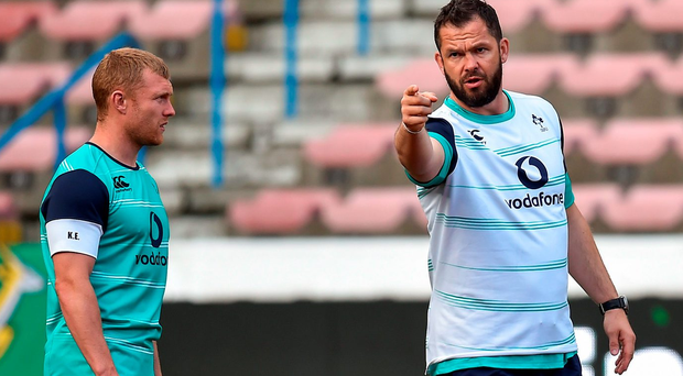 Andy Farrell gives Keith Earls a few pointers in Cape Town yesterday Photo by Brendan Moran/Sportsfile