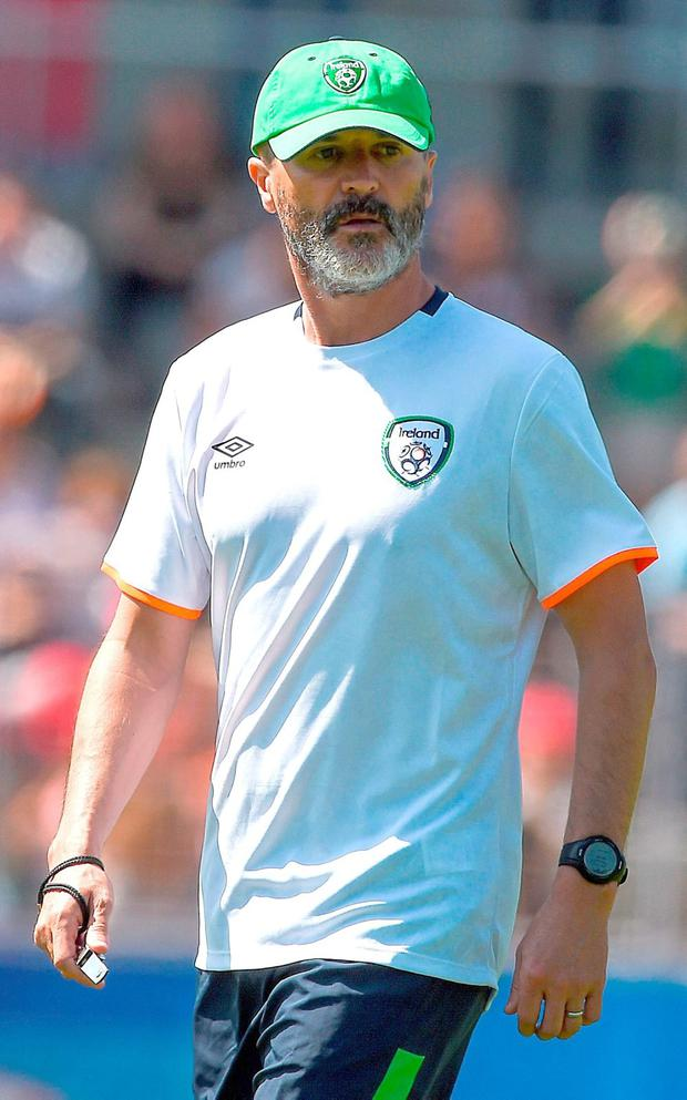 Republic of Ireland assistant manager Roy Keane during squad training at Versailles Picture: David Maher/Sportsfile