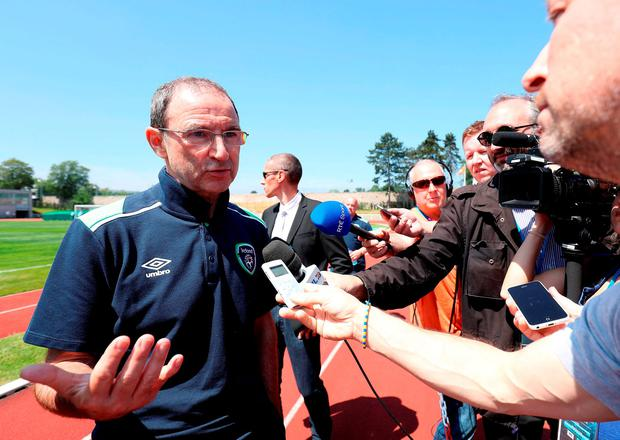 Martin O'Neill speaks with the media after a training session at the Stade de Montbauron, Versailles Picture: PA