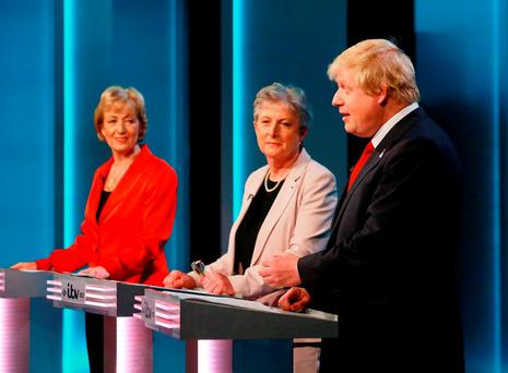 British energy minister and Leave supporter Andrea Leadsom, Labour Leave campaigner Gisela Stuart and Boris Johnson, during ITV1's EU referendum debate on Thursday night. Photo: ITV/PA Wire