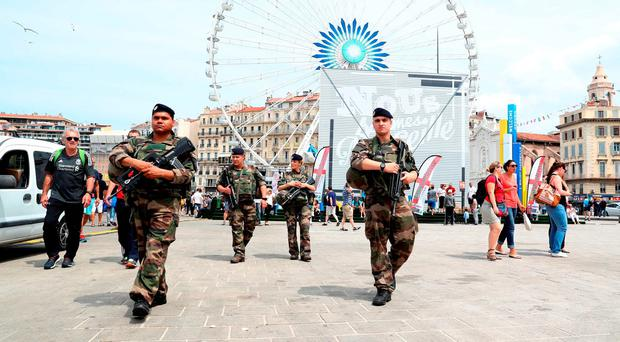 Security in Marseille ahead of the UEFA Euro 2016, Group B match at the Stade Velodrome, Marseille: Owen Humphreys/PA Wire.