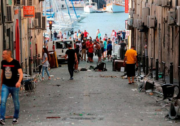 The scene of destruction after football fans clashed ahead of the England vs Russia