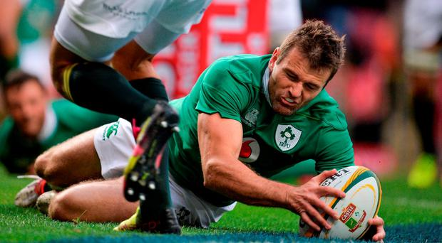 Jared Payne of Ireland scores his side's first try during