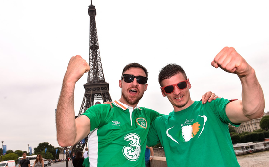 Brothers Stephen, left and Ian Burke, from Marino, Dublin at the Eiffel Tower in Paris