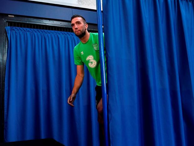 Republic of Ireland's Shane Duffy arriving for a press conference in Versailles, Paris, France. Photo: David Maher/Sportsfile