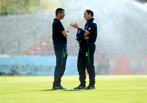Martin O'Neill talking football with Roy Keane. Photo: Caroline Quinn/AFP/Getty Images