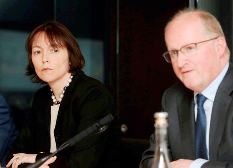 Review: Central Bank deputy governor Sharon Donnery and governor Philip Lane. A consultation on mortgage lending is due shortly Photo: Sam Boal