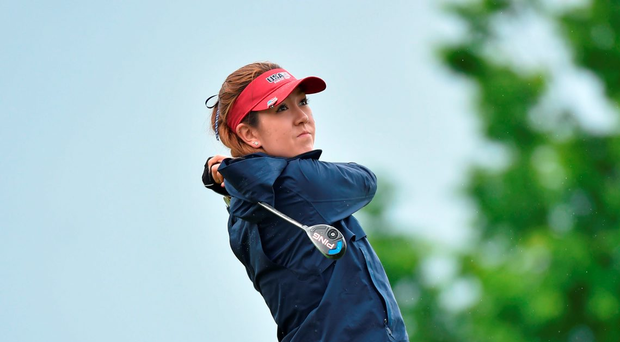 Hannah O'Sullivan in Curtis Cup action for the US team yesterday. Photo: Matt Browne/Sportsfile