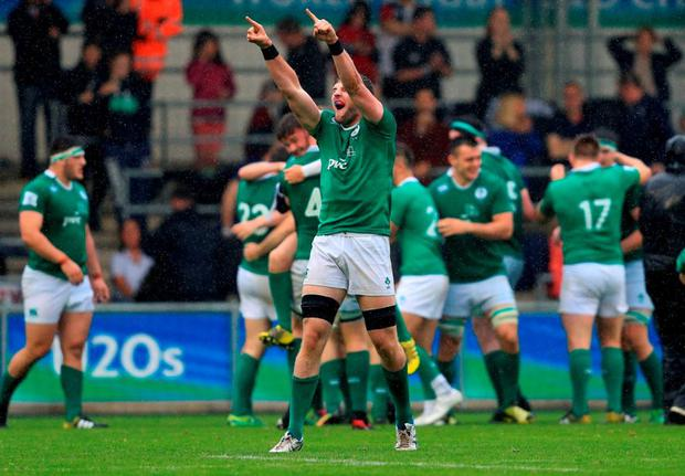 Ireland's Sean O'Connor celebrates their victory over New Zealand during the Under 20's Rugby Union World Cup match at the City Academy Stadium, Manchester. Photo: David Davies/PA Wire.