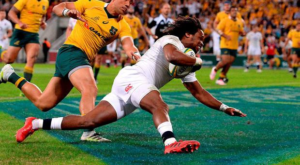 England's Marland Yarde crosses over to score a try against Australia in June. Photo: Dan Peled/AAP