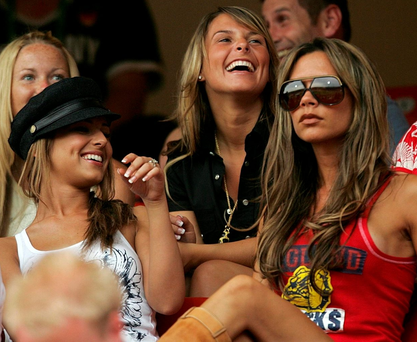 Cheryl Cole, Coleen Rooney and Victoria Beckham at an England game during the 2006 World Cup