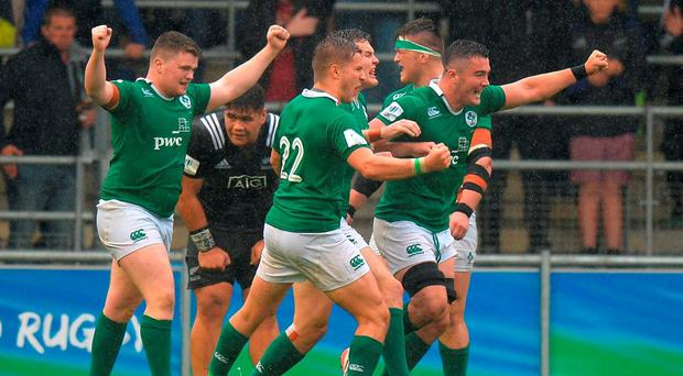 The Irish players celebrate beating New Zealand at the final whistle. Photo: Tony Marshall/Getty Images