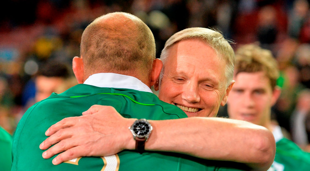 Joe Schmidt hugs his captain Rory Best after Ireland's spectacular victory over South Africa