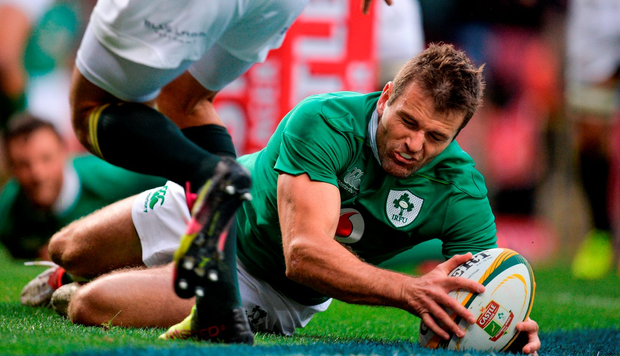 Jared Payne of Ireland scores his side's first try. Photo: Brendan Moran/Sportsfile