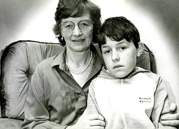 Devastated: Philip's mum Alice Cairns pictured with her younger son Eoin in the 1980s