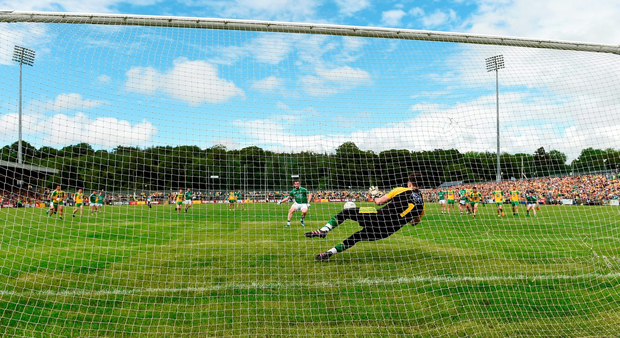 Sean Quigley of Fermanagh has his penalty saved by Mark Anthony McGinley of Donegal