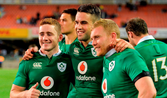 Ireland players, from left, Paddy Jackson, Conor Murray and Keith Earls celebrate after the first test