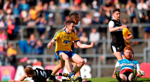 Ciaran Murtagh of Roscommon celebrates after scoring his side's second goal
