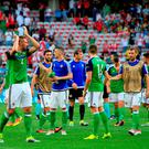 Northern Ireland's Gareth McAuley (left) applauds the fans after the final whistle