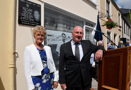 Detective Garda Jerry McCabe's widow Ann with retired garda Ben O'Sullivan at the unveiling of the plaque in Ballylongford. Photo: Domnick Walsh