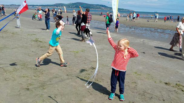 Hundreds turned out to fly kites at Bull Island as part of Dublin City Council Kite Festival