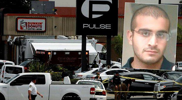 Officers outside the Pulse club, inset Omar S. Mateen