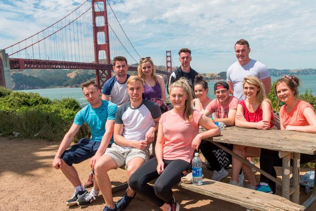Irish J1 students enjoying the sunshine by the Golden Gate Bridge in San Francisco are (standing, l-r) Kieran O'Brien, Peggy McSweeeney, Martin Noonan and Peter Dooley; (seated, l-r) Ciaran Moss, Kevin O'Connell, Grace McCarthy, Orla McSweeeney , David Coughlan, Emma Kelly and Eimear Madigan. Photo: Patrick Power