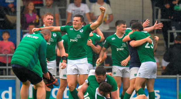 Ireland's players celebrate after beating New Zealand in the World Rugby U20 at the Academy Stadium in Manchester on Saturday. Photo: Tony Marshall/Getty Images