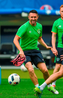 Robbie Keane during yesterday's training session at the Stade de France. Photo: David Maher/Sportsfile