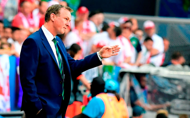 Northern Ireland's coach Michael O'Neill attends the Euro 2016 group C football match between Poland and Northern Ireland at the Stade de Nice in Nice on June 12, 2016. / AFP PHOTO / TOBIAS SCHWARZTOBIAS SCHWARZ/AFP/Getty Images