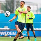 Zlatan Ibrahimovic busy fine-tuning his skills ahead of his Paris date with Ireland this evening. Photo: AFP/Getty