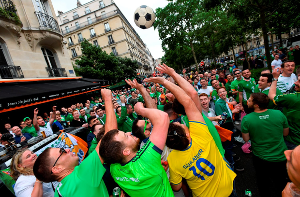 Republic of Ireland and Sweden supporters in Montmartre. Photo: Stephen McCarthy/Sportsfile