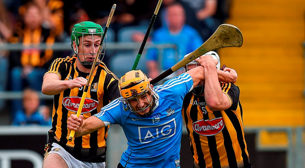 Dublin's Eamonn Dillion attempts to get away Joey Holden, left, and Padraig Walsh of Kilkenny during their Leinster SHC semi-final clash in Portlaoise. Photo: Ray McManus/Sportsfile