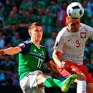 Northern Ireland's defender Paddy McNair vies with Poland's defender Artur Jedrzejczyk during the match between Poland and Northern Ireland. Photo: Anne-Christine Poujoulat/Getty Images
