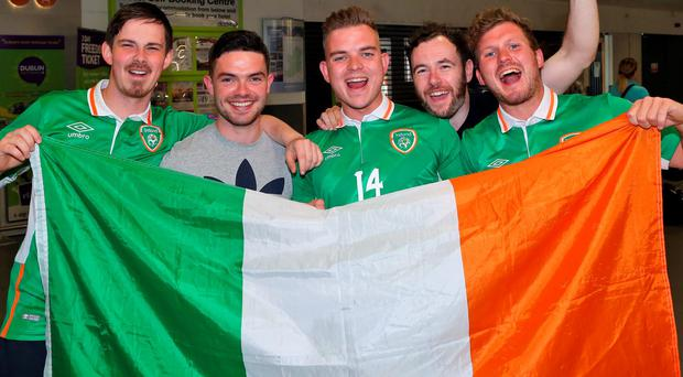 Irish Fans, Eoghan Maloney, David Conway, Ronan Kirby. Brian Treacy and Padraig Kirby, all from Limerick pictured at Dublin Airport on their way to France for Euro 2016. Photo: Collins