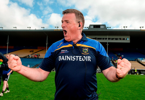 Tipperary manager Liam Kearns celebrates victory. Photo by Piaras Ó Mídheach/Sportsfile