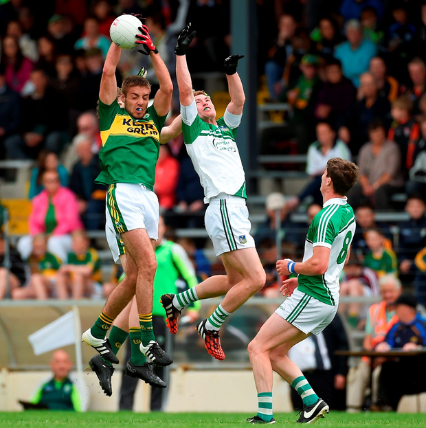 Adrian Spillane wins a high ball for Kerry in their win over Limerick. Photo by Diarmuid Greene/Sportsfile