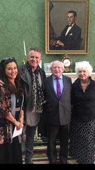 Actress Jessie Wallace, actor Shane Richie, President Michael D Higgins and actress Fionnula Flanagan