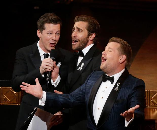 Show host James Corden (R) shares the stage with actors Jake Gyllenhaal (C) and Sean Hayes during the American Theatre Wing's 70th annual Tony Awards in New York, U.S., June 12, 2016. REUTERS/Lucas Jackson