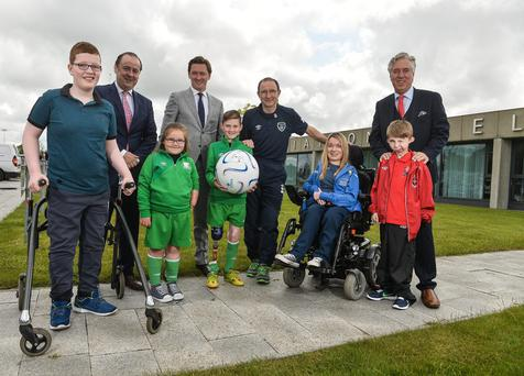 23 May 2016; Republic of Ireland manager Martin O'Neill with FAI Chief Executive John Delaney and from left during the Tetrarch FAI Sponsor Photocall in the FAI, National Sports Campus, Abbotstown, Dublin. Photo by David Maher/Sportsfile