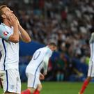 MARSEILLE, FRANCE - JUNE 11: Harry Kane of England reacts after missing a chance during the UEFA EURO 2016 Group B match between England and Russia at Stade Velodrome on June 11, 2016 in Marseille, France. (Photo by Michael Regan - The FA/The FA via Getty Images)