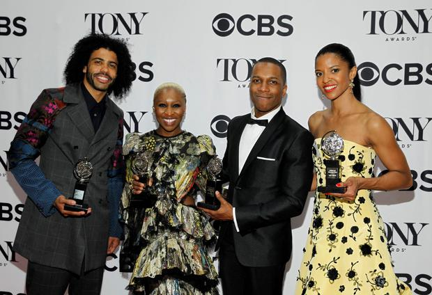 (L-R) Actors Daveed Diggs holds his award for Best Performance by an Actor in a Featured Role in a Musical for