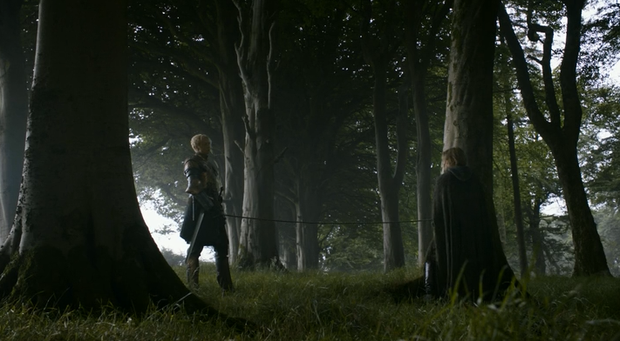 Jaime and Brienne in a scene from Game of Thrones