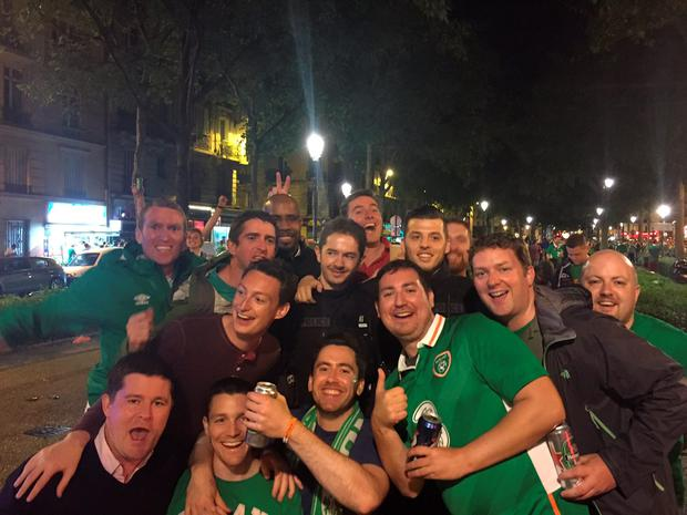 Police posed with Irish fans