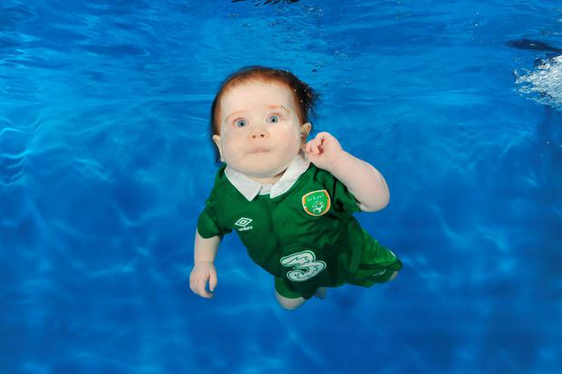 Sadhbh Stynes shows her support for the boys in green (Photo: waterbabies.ie)