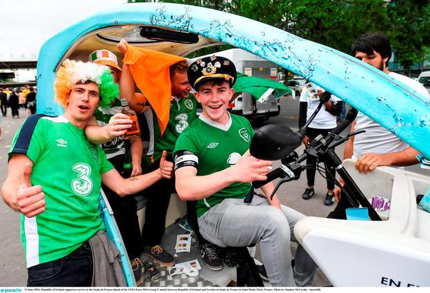 13 June 2016; Republic of Ireland supporters arrive at the Stade de France ahead of the UEFA Euro 2016 Group E match between Republic of Ireland and Sweden at Stade de France in Saint Denis, Paris, France. Photo by Stephen McCarthy / Sportsfile