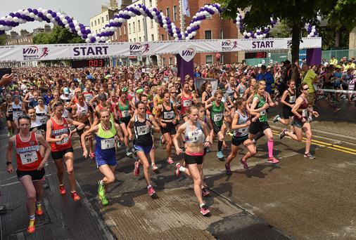 6 June 2016; A general view of the start of the 2016 Vhi Womens Mini Marathon which saw 35,000 participants take to the streets of Dublin to run, walk and jog the 10km route, raising much needed funds for hundreds of charities around the country. For further information please log on to www.vhiwomensminimarathon.ie. Photo by Paul Mohan/Sportsfile *** NO REPRODUCTION FEE ***