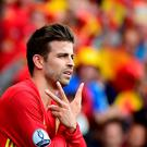 Spain's defender Gerard Pique celebrates after scoring the winning goal during the Euro 2016 group D football match between Spain and Czech Republic at the Stadium Municipal in Toulouse